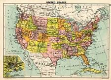 United States 1898 Original Victorian Colour Map Bartholomew