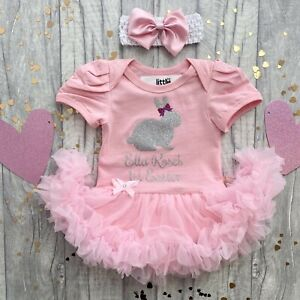 BABY GIRL PERSONALISED EASTER TUTU ROMPER Silver Bunny Bow Newborn 1st Easter