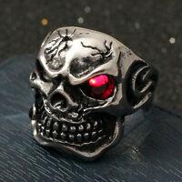 Men's Huge Gothic Skull Ruby Red CZ Eye Cigar Stainless Steel Biker Ring Silver