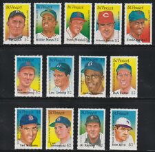 St Vincent Scott 1131 & 1211-1222 XF MNH Hall of Fame Baseball Players Set of 13