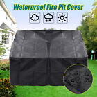 Waterproof Square Fire Pit Cover Black Canvas Covers BBQ Grill Dust Protector