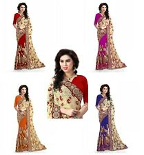 Indian Bollywood Party Wear Women's Embroidery Designer Brasso and Net Saree