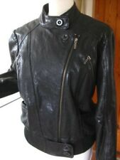 Ladies M&S LIMITED COLLECTION black real leather JACKET COAT size UK 18 16 biker