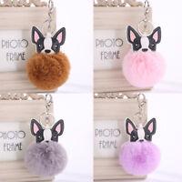 Plush Keyring Fluffy CuteKey Chain Dog Rabbit Fur Handbag  Pendant Key Buckle