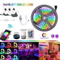 15/10/5M Flexible Smart WiFi 5050 RGB LED Strip Lights for Alexa Google Home 12V