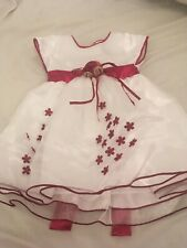 Isabelle Rose Collection Girls White Dress With Red Sash 6-12m