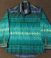 Vtg 90s Roper Aztec Button Down Shirt M USA Pearl Snap Western 80s Cowboy Rodeo