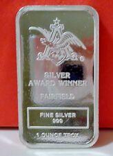 Anheuser Busch BUDWEISER .999 SILVER ART BAR COLLECTABLE ULTRA RARE FAIRFIELD