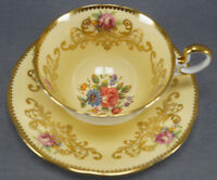 Aynsley C963 Dresden Floral Gold Scrollwork & Yellow Bone China Tea Cup & Saucer