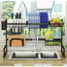 Supersized Over Sink Dish Drying Rack Drainer Steel Kitchen Cutlery Holder Shelf