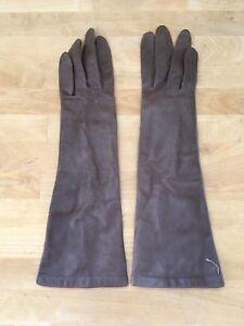"""Vintage Van Raalte Long Brown Kid Leather Cabretta Gloves Sz 7 - 14"""" Table Cut"""