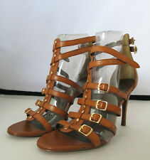TAHARI  Cognac Caramel brown leather sandals pamps comfortable fit 8.5US NEW