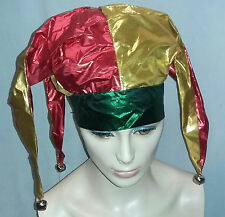 Metallic Red Gold Green Deluxe Jester Costume Hat with Bells