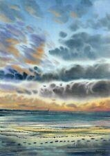 original painting A3 432ShA art samovar watercolor Realism seascape sunset