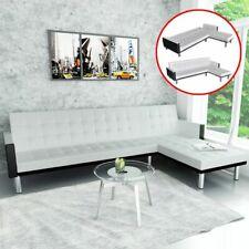 vidaXL Slaapbank L-vormig Kunstleer Wit Bedbank Slaap Bed Bank Bankje Sofa