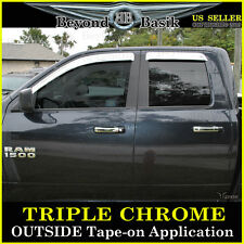 DODGE RAM 1500 EXTENDED Cab Chrome Door Visors Window Vent Guards 09-17