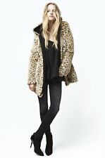 Zara Warm Wear TRF Hooded Faux Fur Zip Coat Animal Leopard Print Fuzzy M