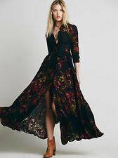 Free People Black After The Storm Floral Print Boho Maxi Shirt Dress 2 Rare