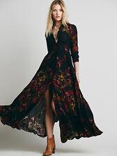 Free People Black After The Storm Floral Print Boho Maxi Shirt Dress 2 Rare