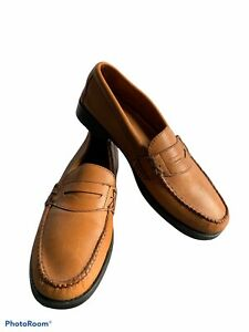 BASS WEEJUNS Katherine II Camel Brown Leather Penny Loafers Shoes in SIZE 9 Wide