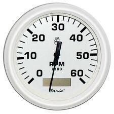 "Faria Dress White 4"""" Tachometer w/Hourmeter - 6,000 RPM (Gas - Inboard)"