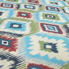 10 Metres Of Traditional Kilim Geometric Pattern Blue Green Upholstery Fabrics
