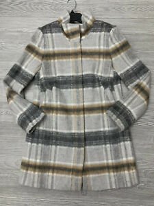 NWOT Ann Taylor LOFT Plaid Coat Jacket Gray Tan Cream Gorgeous Zip Close Small