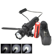 2500Lm T6 LED Hunting Flashlight Torch Mount Light Rifle+battery + Remote Switch