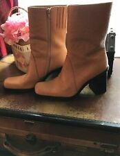 Vintage MIA Boots 100% Leather (Brazil)Lt Brown Wooden Stacked Heel Sz 7 1/2 M