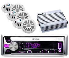 "400W Amplifier, Marine White 6.5""Boss Speakers, Kenwood USB CD iPod Marine Radio"
