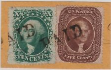 US Scott#30A and 35 on piece - both VF+ centered 2 paid cancels - with cert