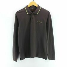 Vintage Ben Sherman Men's Polo Shirt in Brown Size M Long Sleeve Cotton EF5688