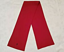 VINTAGE AUTHENTIC POLO RALPH LAUREN RED WOOL BLEND KNITTED LONG MEN'S SCARF
