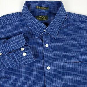 Orvis Signature Collection Blue Men's 2XL XXL Long Sleeve Button Up Check Shirt