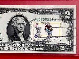 1976 $2 TWO DOLLAR BILL ( Kansas City ) Stamp FLAG ILLINOIS , UNCIRCULATED
