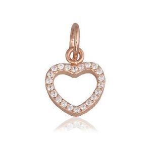 S925 Charm Pendant 14K Rose Gold PL Sparkling Hanging Heart -Jewelicous Designs