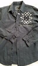 XTREME COUTURE LS Button Front Casual Shirt Gray Men's Size L