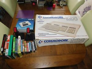 COMMODORE 128 COMPUTER BOXED & TAPE DECK & JOYSTICKS & GAMES - WORKING