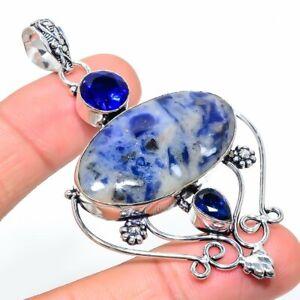 "Sodalite, Blue Topaz Gemstone Handmade 925 Sterling Silver Jewelry Pendant 2.92"""