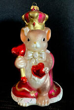 Fitz and Floyd, Charming Tails King of My Heart, Giant Mouse Glass Ornament 9�