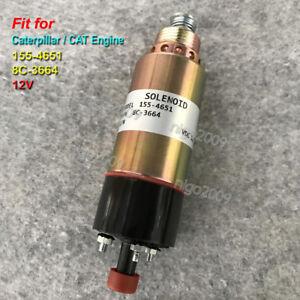 12V Fuel Shut Off Stop Solenoid Valve 155-4651 for Caterpillar CAT 8C-3664