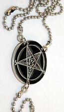 Vintage Rosary Baphomet Pendant / Inverted Crucifix - Necklace - New - pentagram