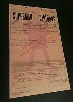 Superman Cartoons Fleischer Studios Paramount Exhibitors Contract 1941 1942 吳衛龍