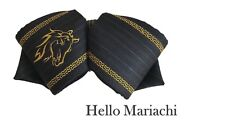Hello Mariachi Moño Black and Gold Horse  Mexican Bow Charro Bow Tie Embroidery