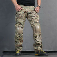 Camouflage Tactical Pants with Knee Pads Men's Camp Hiking Trousers