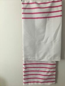 Kate Spade Harbour Stripe Fabric Shower Curtain Hot Pink & White Cotton Blend
