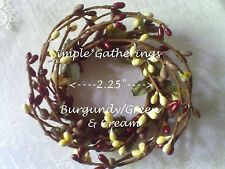 "BURGUNDY GRAY GREEN  CREAM 2.25"" Pip Berry Candle Ring Primitive Crafts Country"