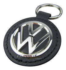 Original VW Leder Schlüsselanhänger Schlüssel Emblem Anhänger VW Logo in Chrom