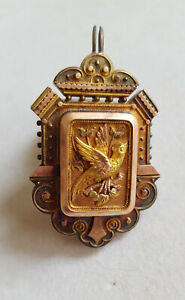 Lg 14k Gold Antique Victorian Etruscan Revival Bird Locket Pendant 1800s
