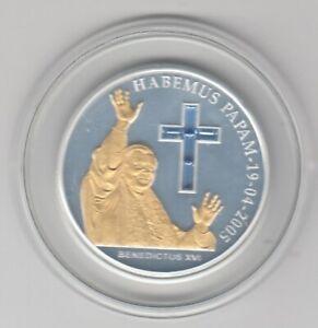 Andorra   10 Dinar  2005  Papst Benedikt XVI.  teilvergoldet  Silber